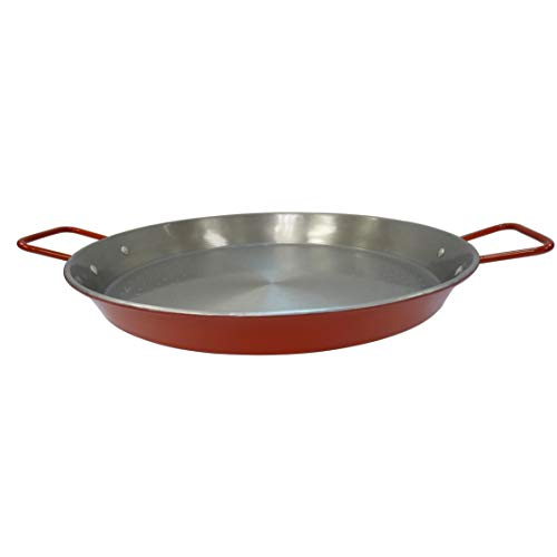 IMUSA USA CAR-52031T NonCoated Aluminized Paella Pan 15-Inch, Red, 15 Inch