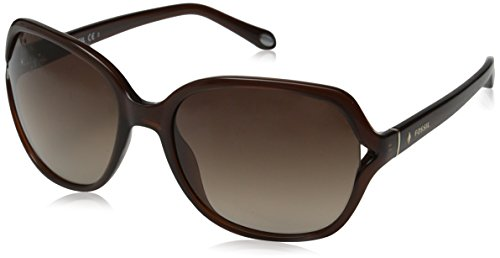 Fossil Women's FOS3020S Square Sunglasses, Transparent Brown, 58 - Sunglasses Fossil Womens