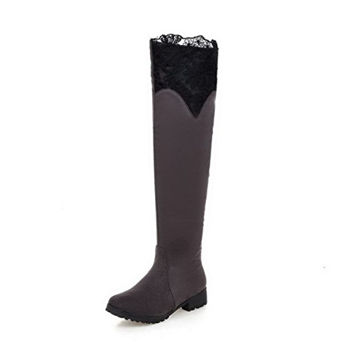AgooLar Top Round Low Pull Heels Women's On Toe Frosted Gray Closed Boots High wxvOIx