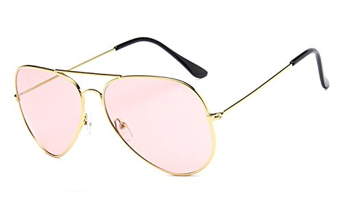 Chezi Unisex Gold Wire Frame Tinted Lens Aviator Sunglasses (gold, - Aviator Pink Lense Sunglasses
