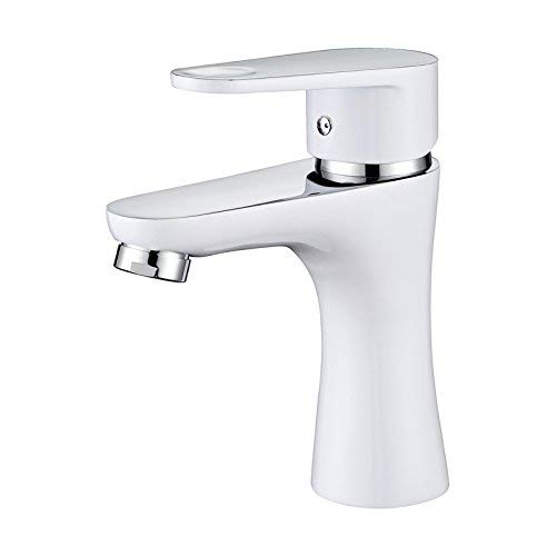 JingJingnet タップキッチンタップ洗面台の蛇口冷たいとお湯のミキサーバスルームのミキサー洗面器のミキサータップキッチンやバスルームのタップのホットとコールドすべて銅短赤 (Color : Short White) B07S79HH2N Short White
