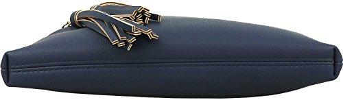 Multi Tassel Accents Handbag Vegan Zipper Purse B Crossbody BRENTANO Navy n with EqCg8R
