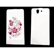 leather Sony Xperia Z Fleur - - ? case blanche - fleur1 -