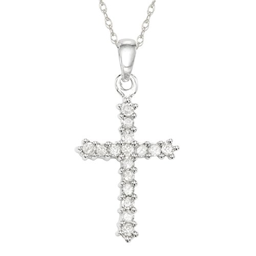 1/4 CT Diamond Cross Necklace in 10KT White Gold ()