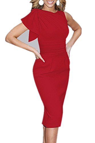 Trendy Work Dress Retro Women's Evening Dress X Ruched Party Pencil Red Cocktail C fC5Aqxz5w