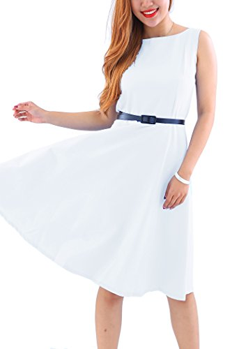 YMING Ladies Vintage Sleeveless Classy Party Cocktail Swing Tea Dress White XS