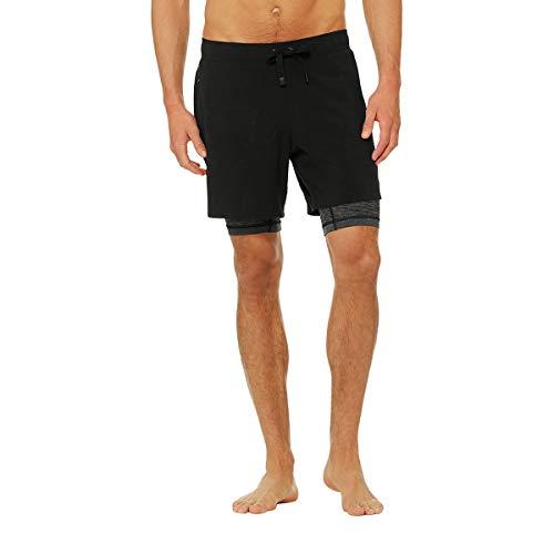 Alo Mens Short - Alo Yoga Men's Unity 2 In 1 Short, Black/Dark Grey MARL, L