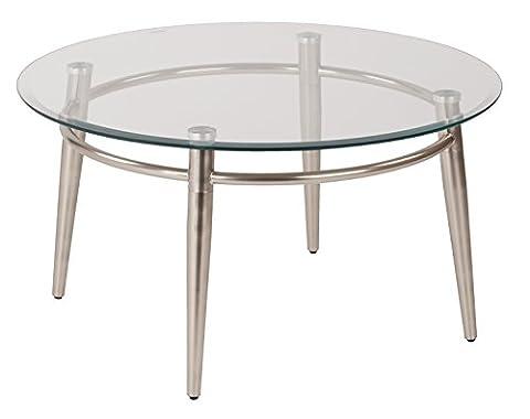 Work Smart/Ave Six Brooklyn Round Top Coffee Table, Nickel Brush Finish - Geo Coffee Table