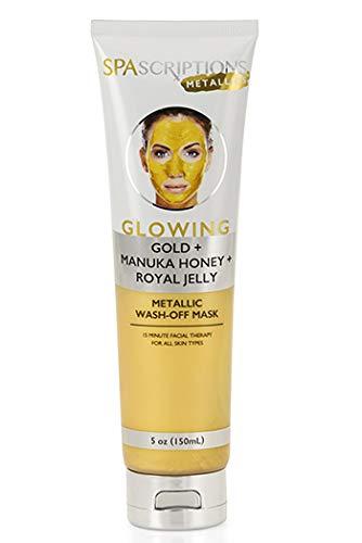 SpaScriptions GLOWING GOLD + MANUKA HONEY + ROYAL JELLY METALLIC Wash Off Mask 5oz]()
