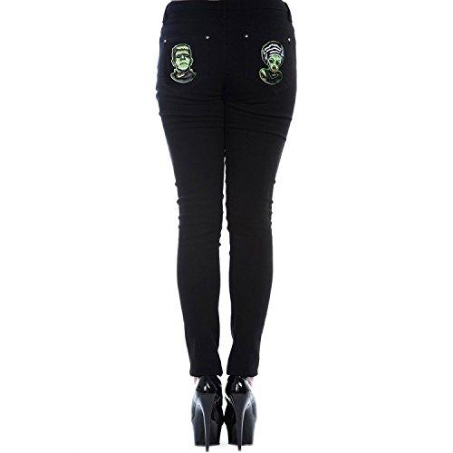 Banned-Pantalón FRANKENSTEIN & BRIDE SKINNIES, color negro negro