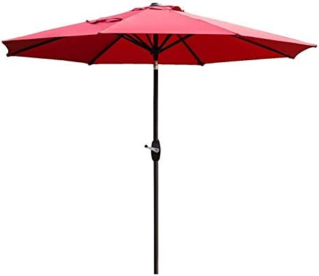 パラソル9 'Outdoor Garden Patio Umbrella UV70 +、Crank And Tilt、屋外用テラスサンデッキ、デッキヤードまたはプールサイド、ワインレッド(色:ワインレッド、サイズ:Ø 9ft / 270cm)