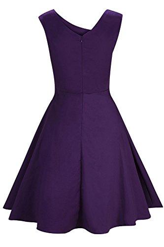 Années Femme Violet Soirée Hepburn Elégante Style Audrey Axoe Robe De 50's 5jLc3ARq4