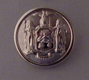 New York State Seal Single Large Silver Uniform Button Silver Police/fire NY by HighQ Store