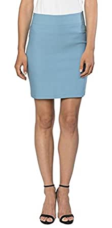 """Womens Stretchable Mini Pencil Skirt - Above The Knee 19"""" Length Classic Skirt, Velucci, Dusty Blue-S"""