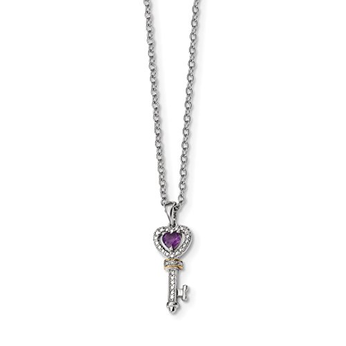 - ICE CARATS 925 Sterling Silver 14kt Purple Amethyst Diamond Key Chain Necklace Pendant Charm Gemstone Fine Jewelry Ideal Gifts For Women Gift Set From Heart