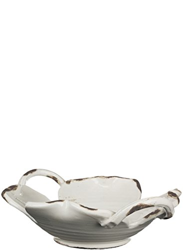 (Sullivans Decorative Ceramic Pottery Dish, Handled Bowl Décor, White)