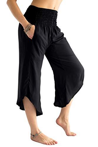 PIYOGA Women's Yoga Flare Capri's, Boutique Boho with Elastic Waistband (One Size fits US W Size 0-10) - Black is The New Black