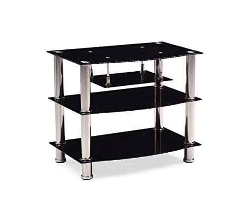 Hodedah Four Shelve Tempered Glass TV Stand, Accommodates TV s up to 32 , Black