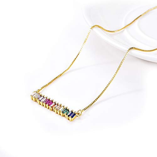 Baguette Necklace Pendant - Sunmoon Colorful Cubic Zirconia Bar Necklace for Women Girls Gold Filled CZ Circle Arc Pendant Rhinestone Necklace