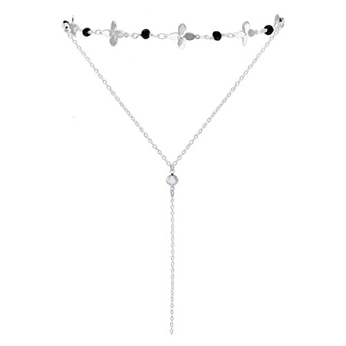 Silver Layered Choker Necklace with Pendant Four Leaf Clover Flower Choker Necklace for Women Girls