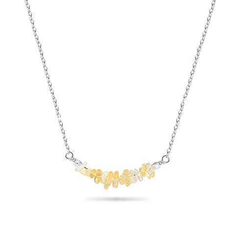 Jeka Citrine Stone Bar Necklace for Women Girls Natural Yellow Crystal Gem Pendant Jewelry 18k White Gold Plated Silver Chain Gift for Birthday