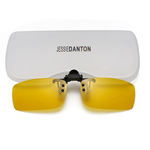 JESSIEDANTON HD Night Vision Polarized Clip-on Flip Up Metal Clip Rimless Sunglasses, Lightweight, S Size, Yellow - Glasses Small Rimless