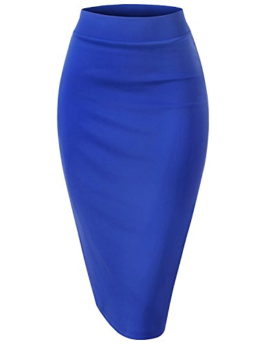 Conscious Fit Business Suit S Shape Blue Large Bodycon Back Slit Midi Skirt (Maternity Stretch Skirt)