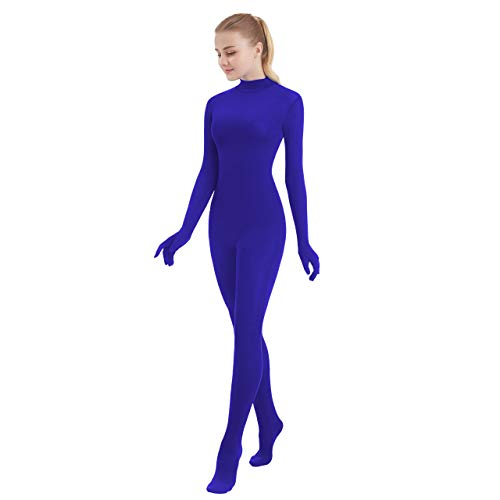 SUPRNOWA Unisex Turtleneck Footed/Footless Long Sleeve Lycra Spandex Unitard (X-Large, Royal Blue New (Footed with Hands))