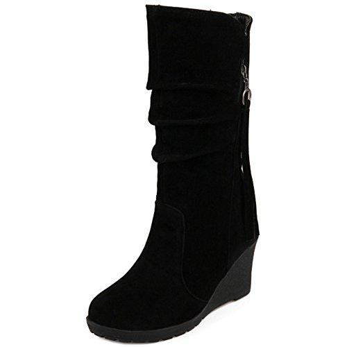 Stivaletti TAOFFEN Donna On Zeppa Pull Modello Stivali Suede Black 6wTwFB