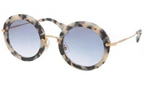 Miu Miu 13NS HA08V1 White Havana 13NS Noir Round Sunglasses Lens Category - Miu Round Miu Noir Sunglasses