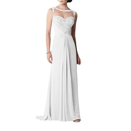 Weiß Standsamt Kleider Abendkleider Abschlussballkleider mit La Herrlich Langes mia Brau Perlen Brautmutterkleider Festlichkleider Chiffon fTqTxwFgB