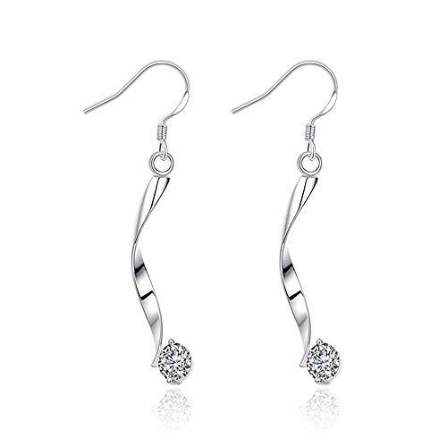 PLLP Novelty Jewelry-Silver Plated Women Hoop Earrings Silver Curve Thin Twist Shape Dangle with Cubic Zirconia Eardrop