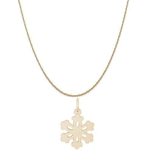 (Rembrandt Charms 10K Yellow Gold Snowflake Charm on a 10K Yellow Gold Rope Chain Necklace, 16