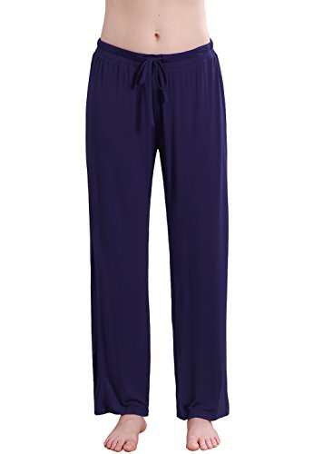 Vislivin Women's Stretch Knit Pajama Pants Modal Sleep Pant Purplish Blue Wide M