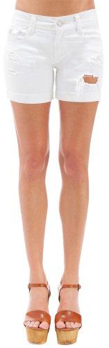UPC 883459786691, WallFlower Juniors Mid Thigh Destructed Denim Shorts in White Size: 5