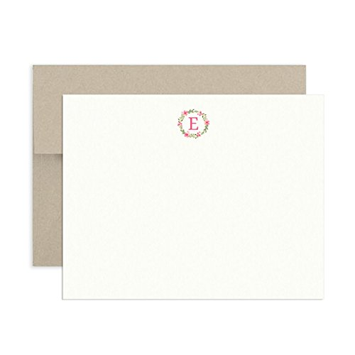 Tiny Expressions Monogram Initial Note Card Floral Wreath Stationary (Floral Wreath, E) (Initial Note Card Set)