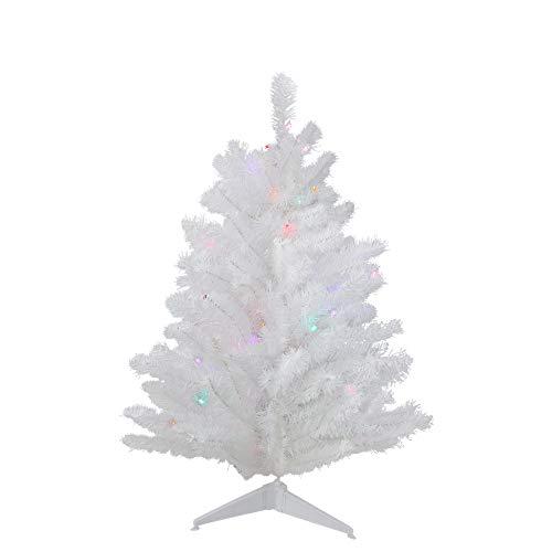3' Pre-Lit LED Snow White Artificial Christmas Tree - Multi Lights