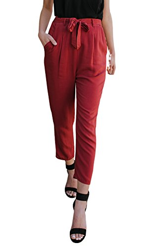 Lynwitkui Women's Chiffon Summer Pants Casual High Waisted Skinny Paper Bag Straight Leg Stretch Trouser with Belted