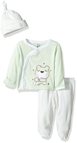 3 Mitten Piece Set (Gerber Baby 3 Piece Side Snap Mitten Cuff Shirt, Footed Pant & Cap, bear, 0-3 Months)