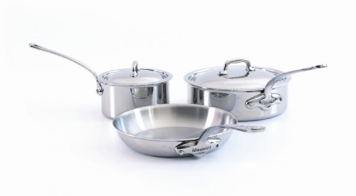 Mauviel Made In France M'Cook 5 Ply Stainless Steel 5210.05 5 Piece Stainless Steel Cookware Set, Cast Stainless Steel Handle