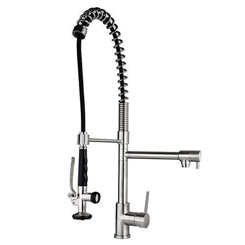 (Homary Commercial Pull Down Stainless Steel Kitchen Sink Faucet with Pre-rinse Spring Sprayer cUPC Certified Lead Free, Brushed Nickel Farmhouse Kitchen Faucet with Deck Plate)