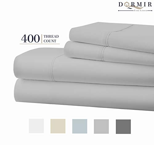 Dormir 400 Thread Count 100% Cotton Sheet Light Grey Twin Sheets Set, 3-Piece Long-Staple Combed Cotton Best Sheets for Bed, Breathable, Soft & Silky Sateen Weave Fits Mattress Upto 18