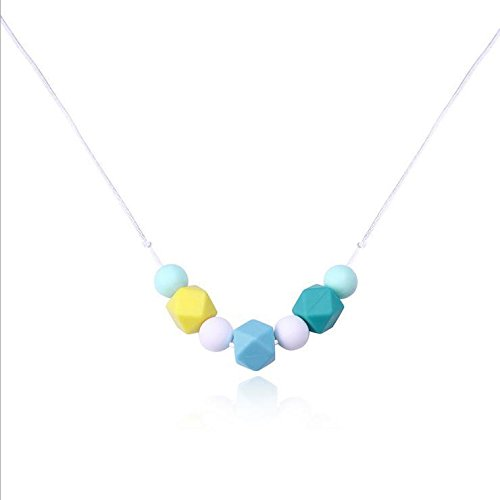 Mulitcolor Geometric Cube Silicone Beads Pendan Necklace BPA Free Safe For Kids