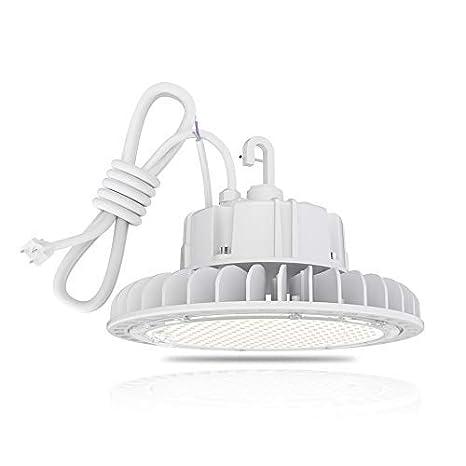 HYPERLITE LED High Bay Light 100W 5000K 13,500LM (135lm/w) CRI>80 1-10V  Dimmable 5' Cable with 110V Plug Hanging Hook Safe Rope UL/DLC Approved for