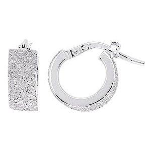 So Chic Bijoux © Boucles d'oreilles Femme Créoles Brillantes Gris Argenté Diamètre 8 mm Fil Rectangle Large Or Blanc 750/000 (18 carats)