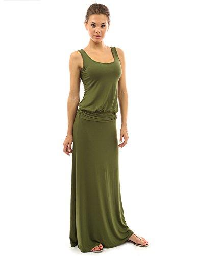 PattyBoutik Women Sleeveless Blouson Maxi Dress (Olive Green Medium)