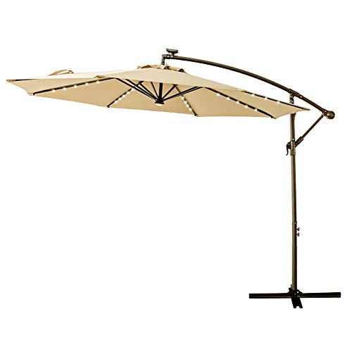 C-Hopetree 10' Offset Cantilever Hanging Umbrella with Solar LED Lights for Large Outdoor Patio Table Balcony Poolside Deck Garden, Beige (Patio Covers Solar)
