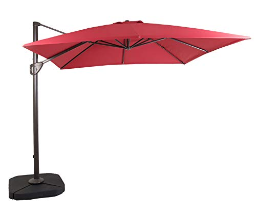 DOMI OUTDOOR LIVING 10 10-Feet Square Cantilever Umbrella Outdooor Patio Tilt & Crank Umbrella Cross Base,Red Review