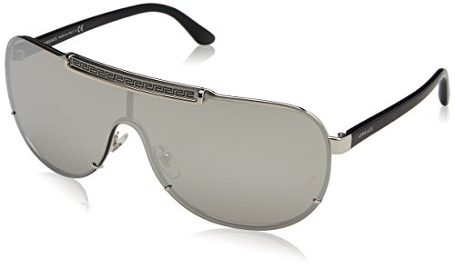 Versace Women's Greca Shield Sunglasses, Silver/Silver, One Size by Versace