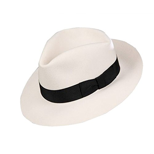 MJ Michael Jackson Fedora Classic Smooth Criminal White Men's Wool Fedora Hat Cap with Name (60cm)